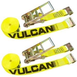 VULCAN Ratchet Strap with Flat Hooks - 3 Inch x 30 Foot, 2 Pack - Classic Yellow - 5,000 Pound Safe Working Load