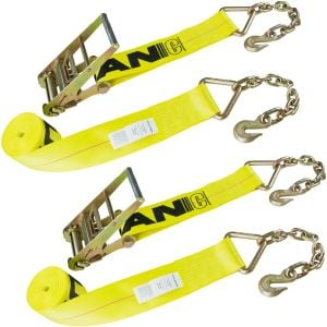 VULCAN Ratchet Strap with Chain Anchors - 4 Inch x 27 Foot, 2 Pack - Classic Yellow - 5,400 Pound Safe Working Load