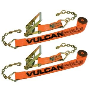 VULCAN Ratchet Strap with Chain Anchors - 4 Inch x 30 Foot, 2 Pack - PROSeries - 6,600 Pound Safe Working Load