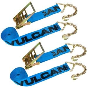 VULCAN Ratchet Strap with Chain Anchors - 4 Inch x 30 Foot, 2 Pack - 6,600 Pound Safe Working Load
