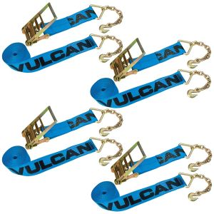 VULCAN Ratchet Strap with Chain Anchors - 4 Inch x 30 Foot, 4 Pack - 6,600 Pound Safe Working Load