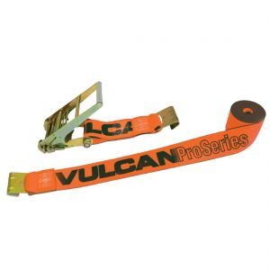 VULCAN Ratchet Strap with Flat Hooks - 4 Inch x 30 Foot - PROSeries - 5,400 Pound Safe Working Load