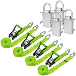 VULCAN Wire Hook Ratchet Strap and Stake Pocket D Ring Kit - 2 Inch x 15 Foot - High-Viz