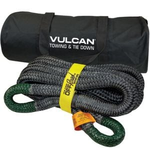 VULCAN Off-Road Recovery Rope - 1-1/2 Inch x 30 Foot - Green Eyes - 74,000 Pound Breaking Strength - Includes Vented Storage Bag