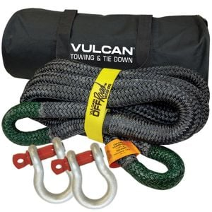 VULCAN Off-Road Double Braided Recovery Rope Kit with 1-1/2 Inch x 30 Foot Rope, Two Shackles and Vented Storage Bag - 74,000 Pound Breaking Strength - Green, Black