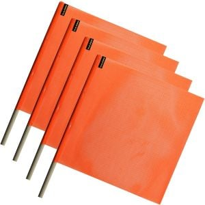 VULCAN Safety Flag with Dowel - Bright Orange - Vinyl Coated Nylon Mesh Construction - 18 Inch x 18 Inch, 4 Pack