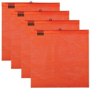 VULCAN Safety Flag with Wire Loop -  Bright Orange - Vinyl Coated Polyester Construction - 18 Inch x 18 Inch, 4 Pack