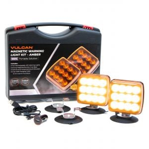 VULCAN Amber LED Flashing Warning Light Kit For Oversize Loads, Trucks, Trailers, SUVs And Boats - Includes Horizontal And Vertical Magnetic Suction Cup Mounts