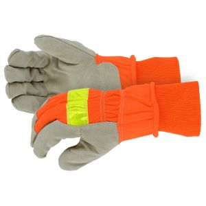 Hi-Visibility Split Leather Winter Lined Reflective Work Gloves