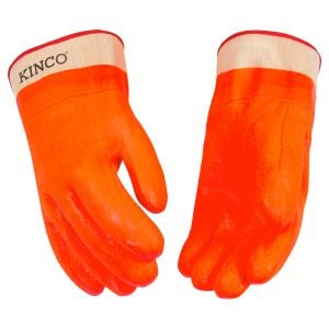 Work Gloves - Lined High Visibility Orange Sandy Finish PVC With Safety Cuff