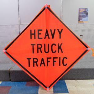 Scratch And Dent Heavy Truck Traffic Road Sign - Mesh