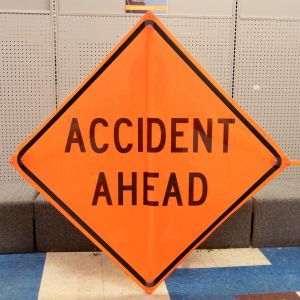 Scratch And Dent Accident Ahead (Words) Road Sign – Mesh
