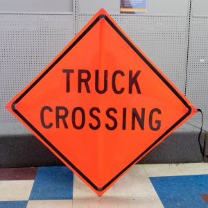 Scratch And Dent Truck Crossing Road Sign - Mesh