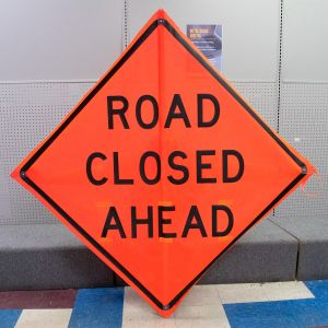 """Scratch And Dent Road Closed Ahead Sign - 48"""" x 48"""" - Mesh - Orange"""
