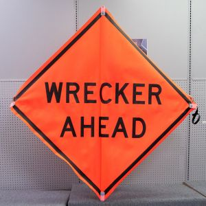 Scratch And Dent Wrecker Ahead Road Sign – Mesh