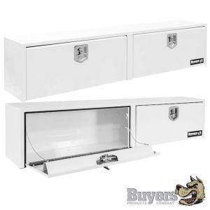 BUYERS Steel Top Side Toolboxes - White With Double Door