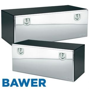 Bawer Black Truck Tool Box with Stainless Steel Door