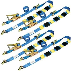 VULCAN Car Tie Downs - E Track Rolling Idler 3-Cleat - 120 Inch, 4 Pack - 3,300 Pound Safe Working Load