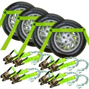 VULCAN High-Viz Flat Bed Side Rail Tie Down with Chain Anchors - Safe Working Load - 3300 lbs.