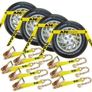 VULCAN Car Tie Down with Chain Anchors - Flat Bed Side Rail - 4 Pack - Classic Yellow - 3,300 Pound Safe Working Load