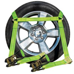 VULCAN High-Viz Flat Bed Side Rail Tie Down with Flat Hook - Safe Working Limit - 3300 lbs.