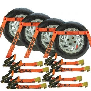VULCAN Car Tie Down with Flat Hooks - XL - Flat Bed Side Rail - 4 Pack - PROSeries - 3,300 Pound Safe Working Load
