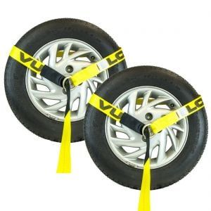 """VULCAN Classic Lasso Style Wheel Dolly Tire Harness With Universal O-Ring - 3300 lbs. SWL (96"""" - Yellow - Pack of 2)"""