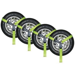 VULCAN Wheel Dolly Tire Harness with Universal O-Ring - 2 Inch x 96 Inch, 4 Pack - High-Viz - 3,300 Pound Safe Working Load
