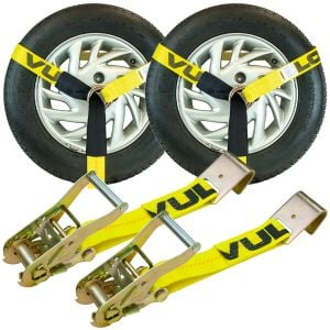 VULCAN Car Tie Down - Flat Hooks - Lasso Style - 2 Inch x 96 Inch - 2 Pack - Classic Yellow - 3300 Pound Safe Working Load