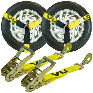 VULCAN Car Tie Down - Twisted Snap Hooks - Lasso Style - 2 Inch x 96 Inch - 2 Pack - Classic Yellow - 3,300 Pound Safe Working Load