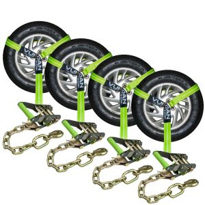 VULCAN Car Tie Down with Chain Anchors - Lasso Style - 2 Inch x 96 Inch, 4 Pack - High-Viz - 3,300 Pound Safe Working Load