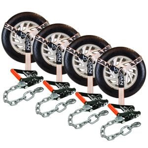 VULCAN Car Tie Down with Chain Anchors - Lasso Style - 2 Inch x 96 Inch, 4 Pack - Silver Series - 3,300 Pound Safe Working Load