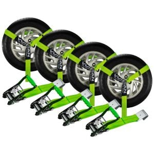 VULCAN Car Tie Down with Flat Hooks - Lasso Style - 2 Inch x 96 Inch, 4 Pack - High-Viz - 3,300 Pound Safe Working Load