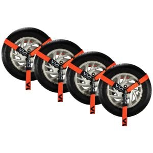 VULCAN Wheel Dolly Tire Harness with Universal O-Ring - 2 Inch x 96 Inch, 4 Pack - PROSeries - 3,300 Pound Safe Working Load - Straps Only, Ratchets Sold Separately