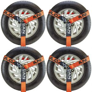 VULCAN Wheel Dolly Tire Harness with Universal O-Ring - 2 Inch x 96 Inch, 4 Pack - PROSeries - 3,300 Pound Safe Working Load