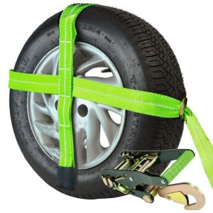 VULCAN High-Viz Adjustable Loop Car Tie Down Kits with Snap Hooks - Safe Working Load - 3300 lbs.