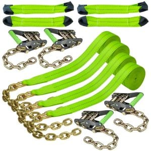 VULCAN 8-Point Vehicle Tie Down Kit with Chain Tails On Both Ends, Set of 4 - Reflective High-Viz