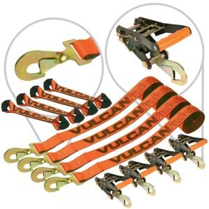 VULCAN 8-Point Roll Back Vehicle Tie Down Kit with Snap Hooks On Both Ends, Set of 4 - PROSeries