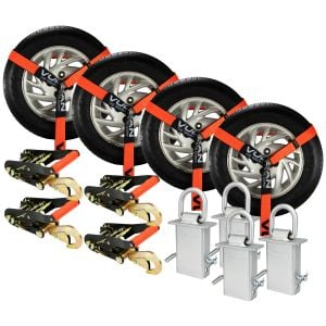 VULCAN Snap Hook Vehicle Tie Down Kits with Heavy Duty Stake Pocket D Rings - Lasso Style - PROSeries