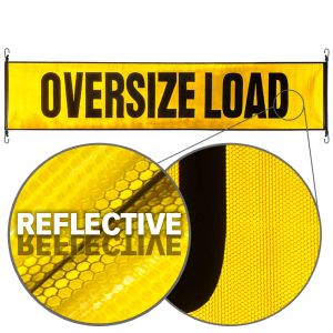 VULCAN Oversize Load Banner with Heavy Duty Stretch Cords and Metal Hooks - Reflective - 18 Inch x 84 Inch