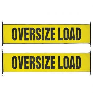 VULCAN Oversize Load Banner with Heavy Duty Metal Hooks, 2 Pack - Stretch Cord Mesh - 18 Inch x 84 Inch