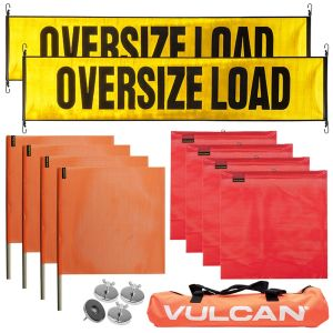 VULCAN Flags, Banners, and Magnets Kit - Includes 2 Reflective Stretch Cord Oversize Load Banners, 4 Red Flags, 4 Orange Flags, and 4 Magnets