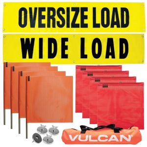 VULCAN Flags, Signs, and Magnets Kit - Includes 2 Reversible Wide/Oversize Load Signs, 4 Red Flags, 4 Orange Flags, and 4 Magnets