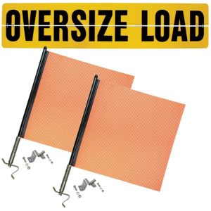 VULCAN Flags and Oversize Load Sign Kit - Includes 1 Aluminum Oversize Load Sign and 2 Heavy-Duty Spring Warning Flags