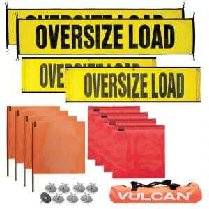 VULCAN Flags, Banners, and Magnets Kit - Includes 2 Stretch Cord Oversize Load Signs, 2 Grommet Oversize Load Signs, 8 Magnets, 4 Red Flags, and 4 Orange Flags