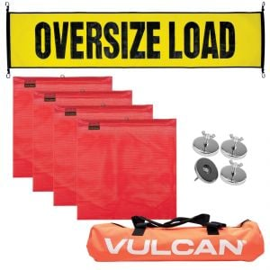VULCAN Banner, Flags and Magnets Kit - Includes 1 Basic Stretch Cord Oversize Load Banner, 4 Magnets, 4 Red Flags, and a High-Viz Vented Storage Bag