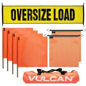 VULCAN Banner and Flags Kit - Includes 1 Economy Stretch Cord Oversize Load Banner, 2 Stretch Cord Orange Flags, 2 Wood Dowel Orange Flags