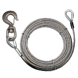 "BEST VALUE! Fiber-Core Extension Winch Cables - 3/8"" Swivel Hook & Eye"