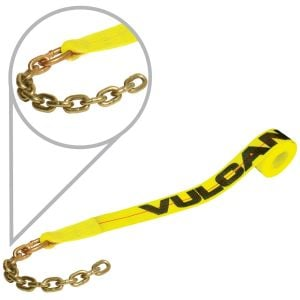 VULCAN Winch Strap with Chain Tail - 2 Inch - Classic Yellow - 3,300 Pound Safe Working Load
