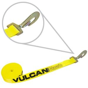 VULCAN Winch Strap with Twisted Snap Hook - 2 Inch x 15 Foot - Classic Yellow - 3,300 Pound Safe Working Load